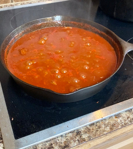 simmering Texas style ostrich chili