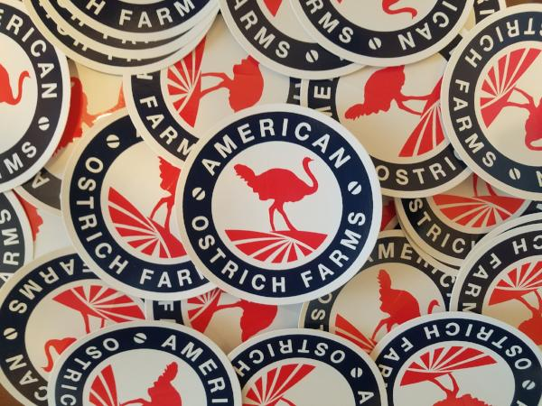 numerous American Ostrich Farms stickers