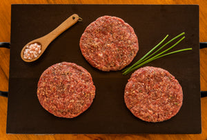 3 raw ground ostrich steak burger patties