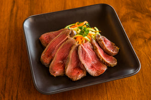 cooked and sliced ostrich pearl filet