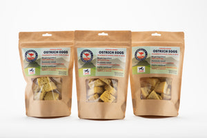 3 bags of freeze dried ostrich eggs