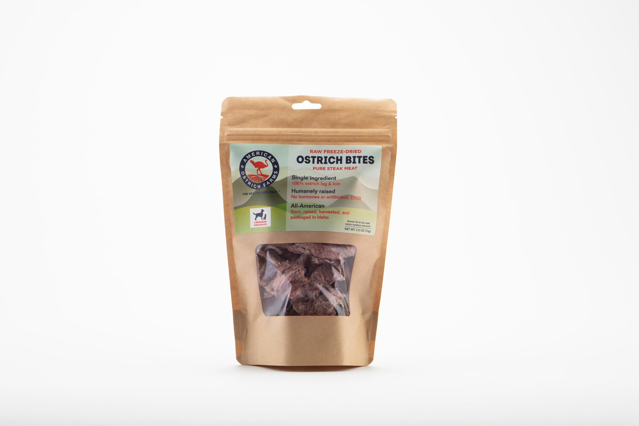 packaged raw freeze-dried ostrich steak bites
