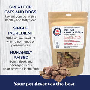 ostrich topper is a healthy treat for dogs or cats, made with 100% American-raised ostrich and scrambled ostrich egg