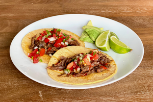 slow cooked ostrich neck tacos