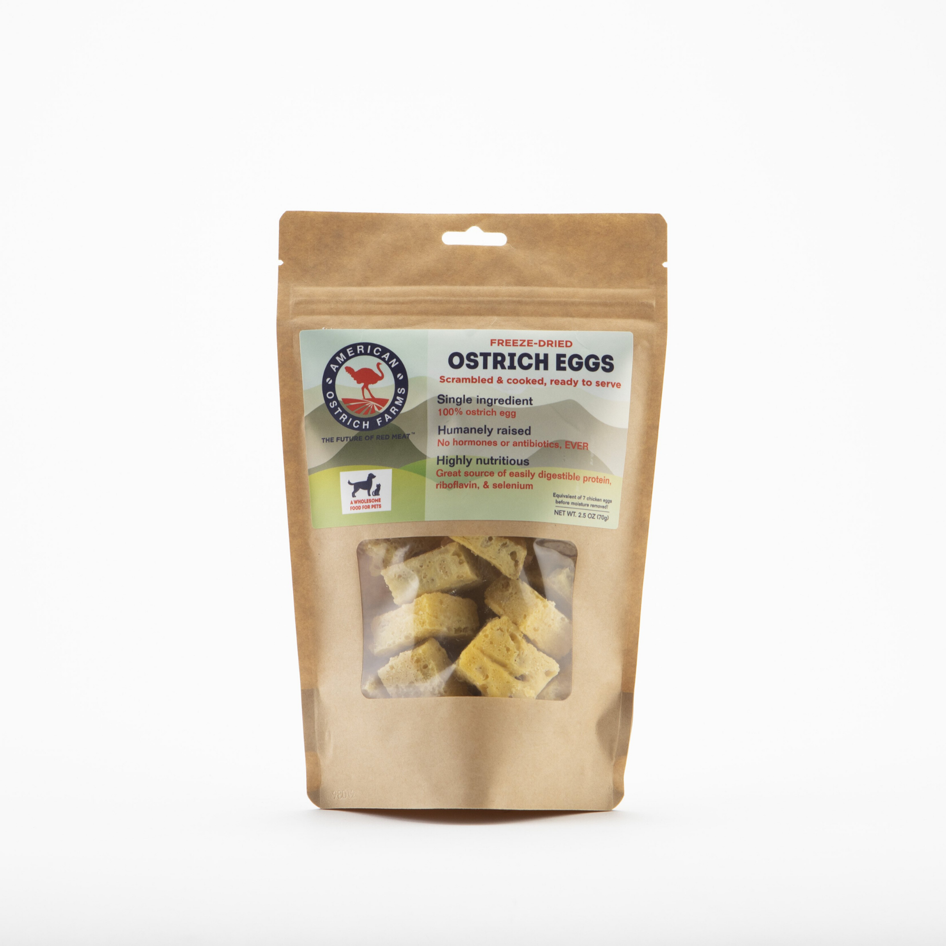 bag of freeze dried ostrich eggs