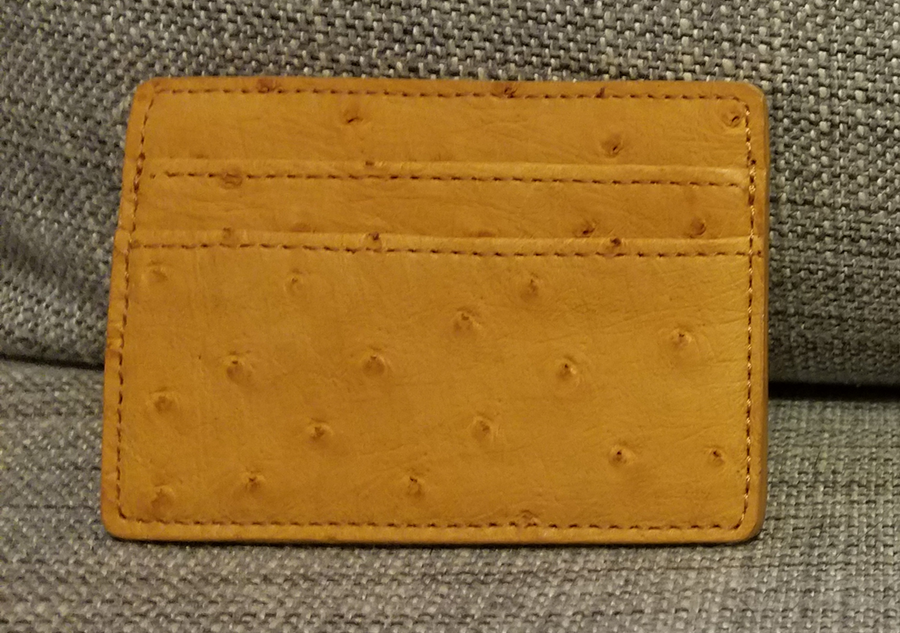 American Ostrich Farms Leather Card Wallet
