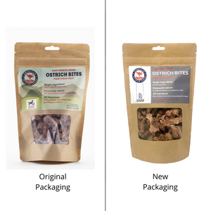new and original packaging of raw freeze dried ostrich bites