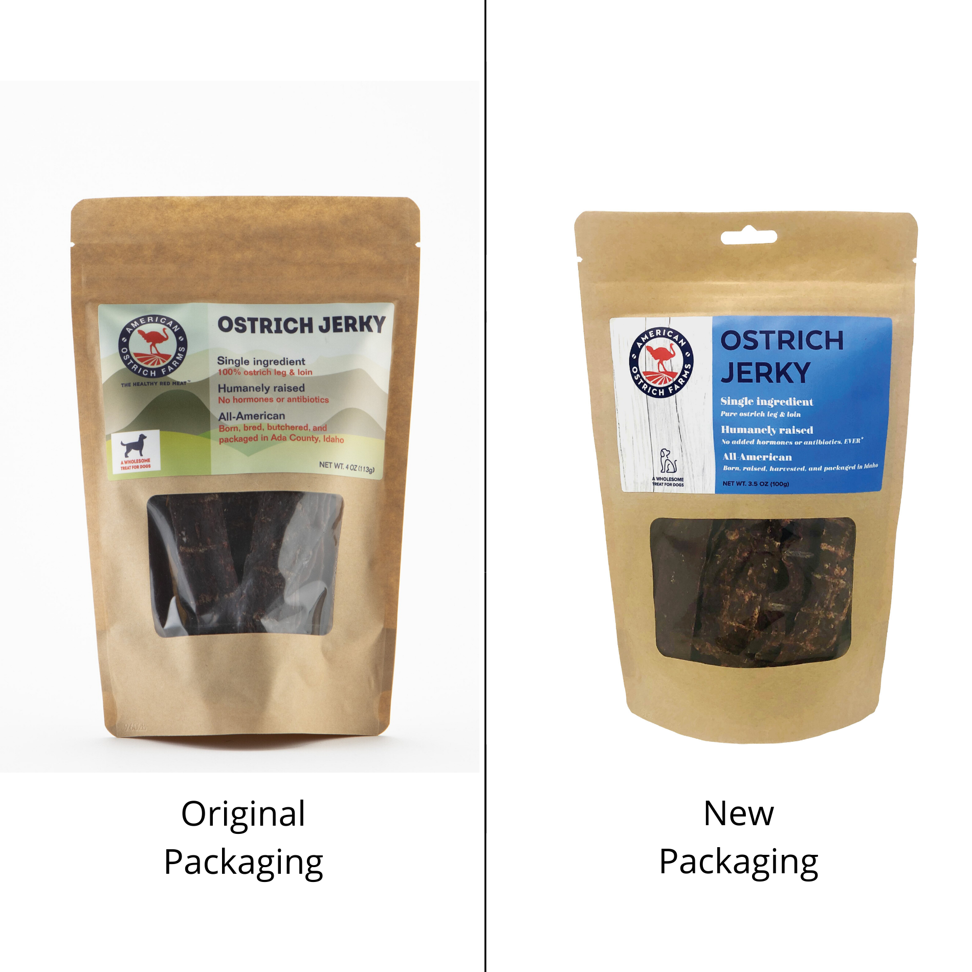 new and original package of ostrich jerky