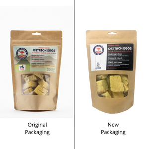 old and new packaging for freeze dried ostrich eggs