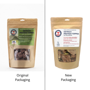 original and new packaging for ostrich protein topper