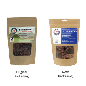 old and new packaging for freeze dried ostrich treats