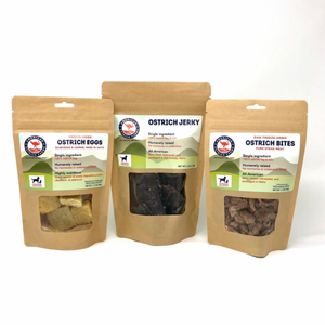 Ostrich pet foods sample pack medium