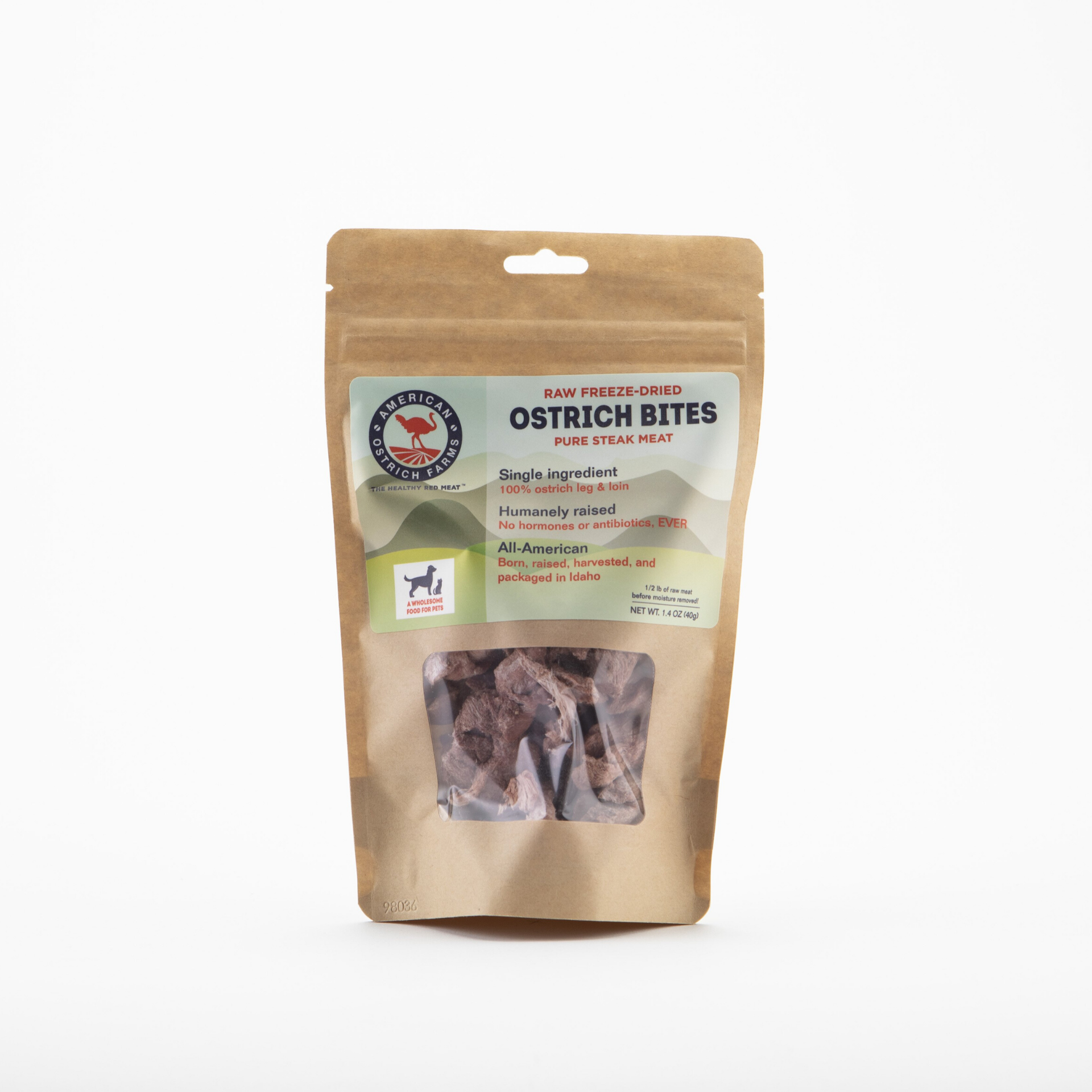 bag of raw freeze dried ostrich bites