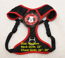 PupSaver Compatible Harnesses - Black With Red Trim