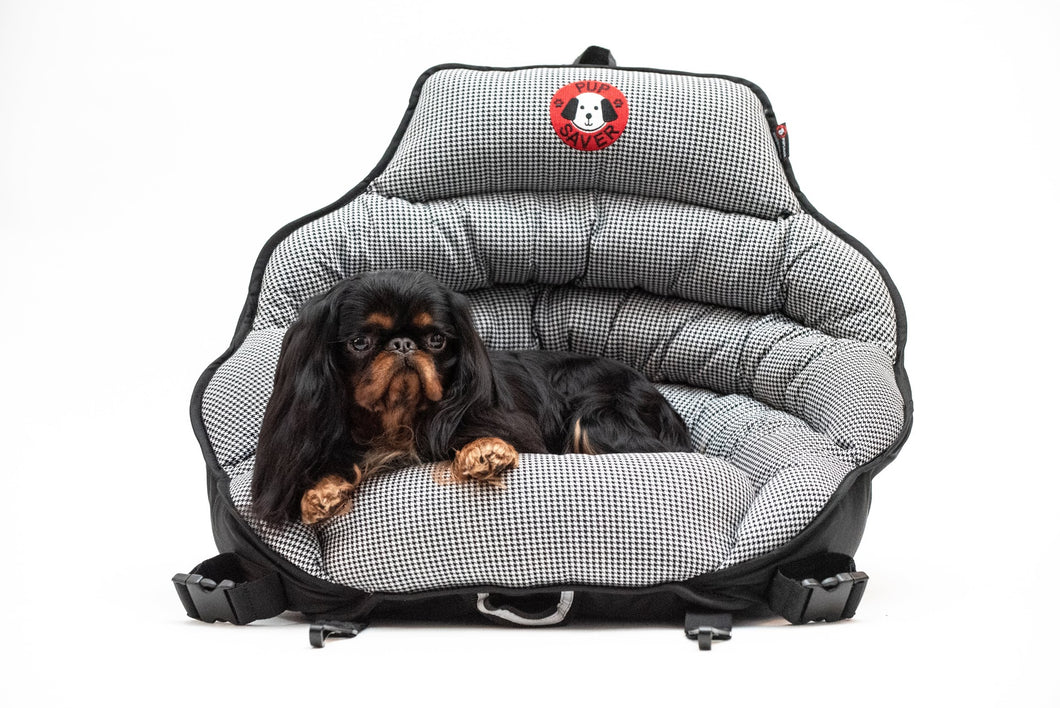 Black & White Houndstooth Petite PupSaver (A Smaller Seat For Dogs UP TO 10 LBS ONLY)