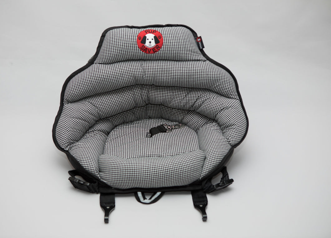 PupSaver Petite -Black & White Houndstooth (A Smaller Seat For Dogs UP TO 10 LBS ONLY)