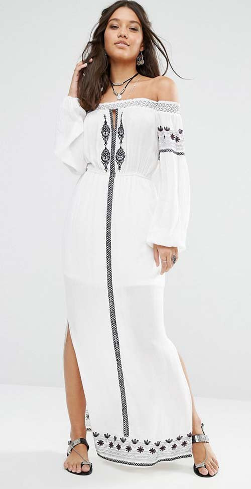 e7895f2707 Boho Style Off Shoulder Double Slit Embroidered Maxi Dress ...