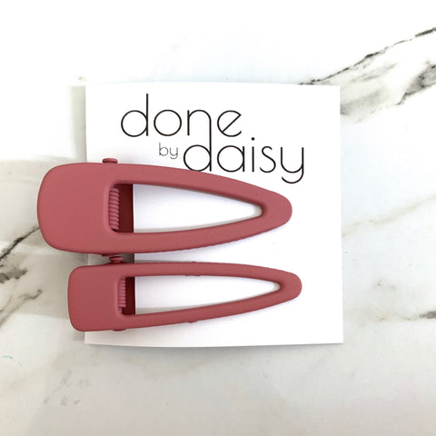Dusty Pink Metal Hair Clip - Set