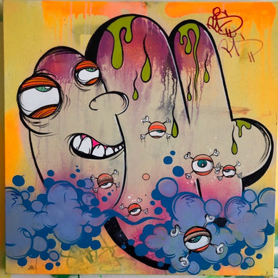 GHOST ORIGINAL CANVAS (24X24) HAPPY FACE THROW SERIES # 2