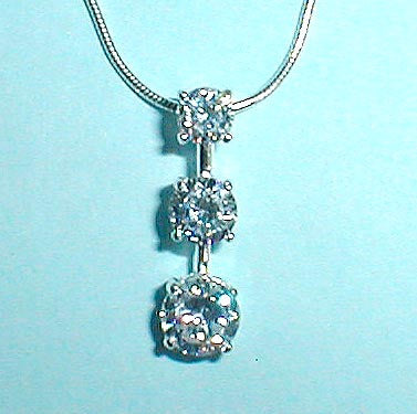 "3-Stone ""Past Present Future"" CZ Pendant Necklace"