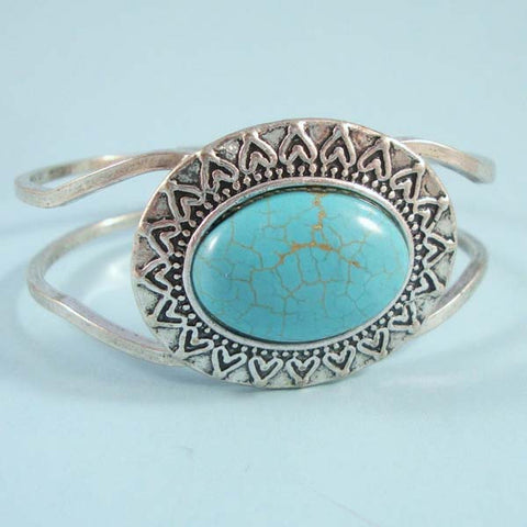 Southwest Navajo Look Oval Turquoise Stone Hinged Silver Bangle Bracelet