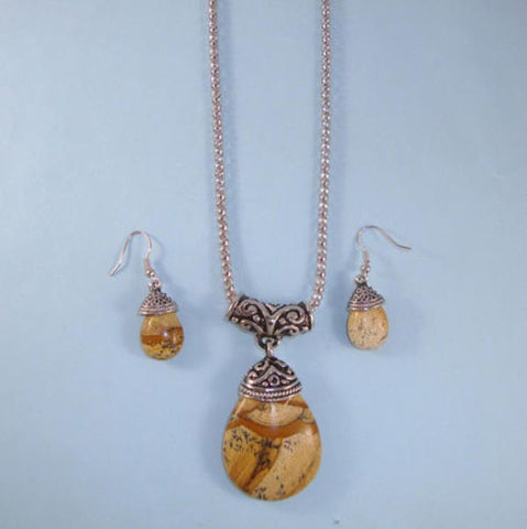 Amber Agate Look Teardrop NEW Statement Necklace Set Bali Setting