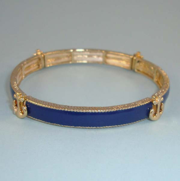 Nautical Navy & Gold Anchor Stretch Bangle Bracelet DESIGNER Style