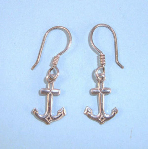 Anchor Nautical Sailor Sterling Silver Dangle Earrings on Wires