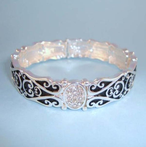 Art Deco Filigree Enamel Vintage Antique Designer Type NEW Stretch Bracelet