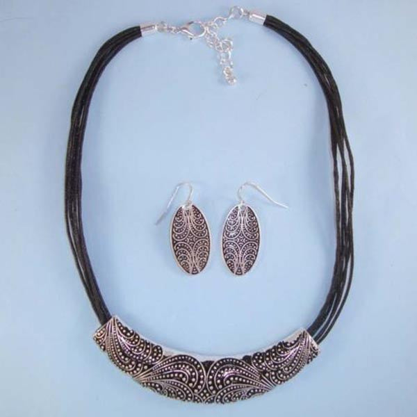 Designer Bali Silver Black Enamel Bar NEW Choker Necklace Leather Cords Set