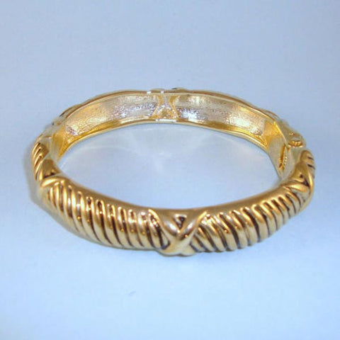 Bali Style NEW Vintage Look Gold Heavy Cable Hinged Bracelet Designer Style