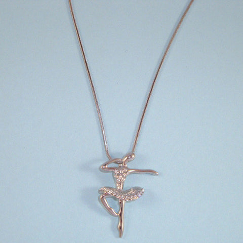 Ballerina Dancer Pendant Necklace, Silver, CZ Accents