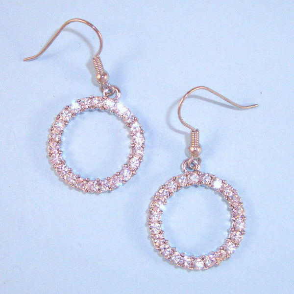 "Designer Inspired CZ & Silver Circle of Life ""O"" Earrings on Wires"