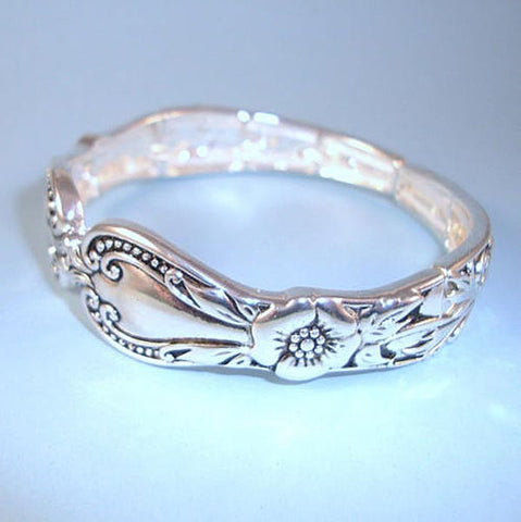 Designer Vintage Style Antique Silver Spoon Pattern NEW Stretch Bracelet