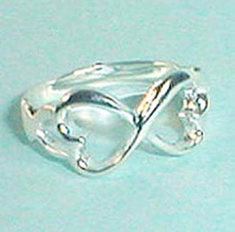 Double Kissing Hearts Designer Inspired Sterling Silver Ring