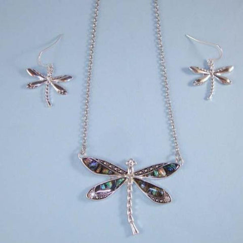Aqua Abalone Silver Dragonfly Pendant Necklace Set