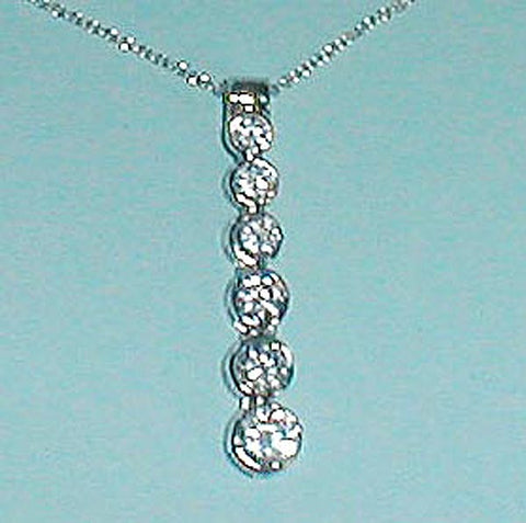 """Chain of CZ"" Jazz Sterling Silver Pendant Necklace"