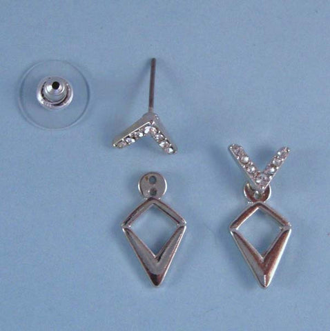 Front & Back Earring Jacket Earrings, 3 Piece Silver Chevron Crystal Accent