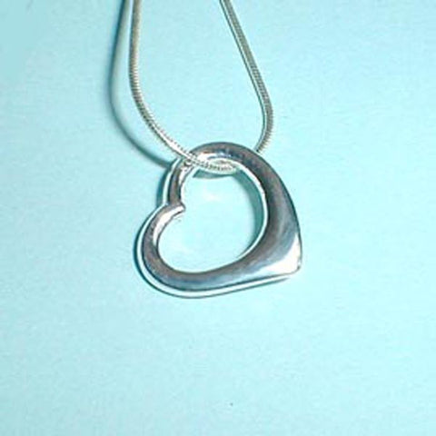"1"" Open Floating Heart Designer Inspired Sterling Silver Pendant"