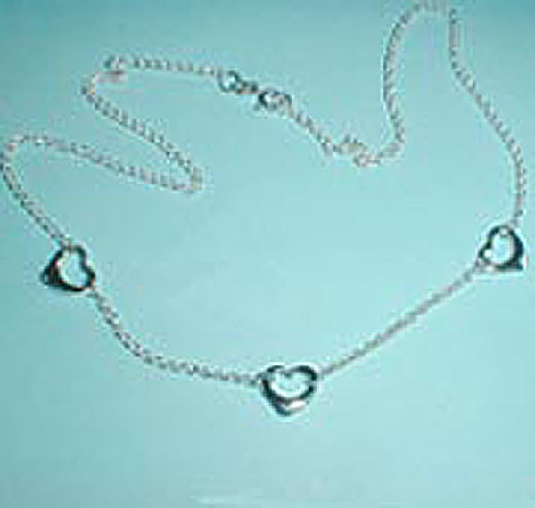 Floating Hearts Sterling Silver Choker Necklace