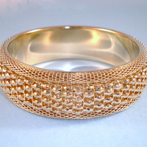 Gold Cuff, Wide Pebble Textured Bangle. Vintage Designer Inspired