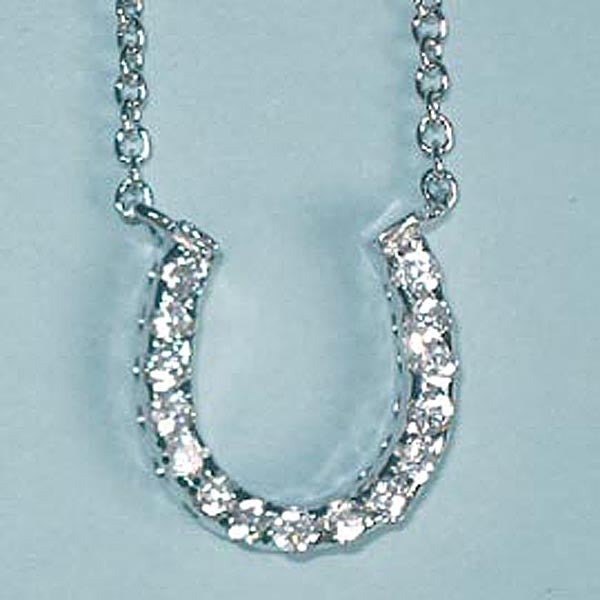 Good Luck Horseshoe CZ Sterling Silver Pendant