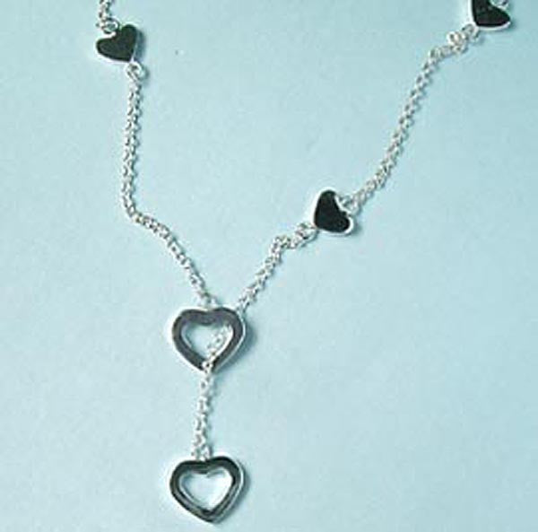 Designer Inspired Heart Lariat Sterling Silver Necklace