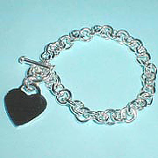 Petite Heart Charm Toggle Bracelet, Sterling Silver