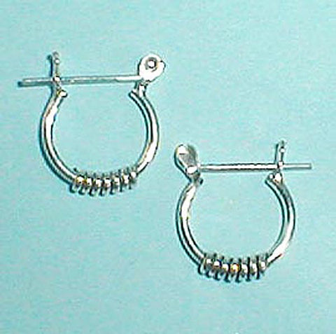 "5/8"" Sterling Silver Bali Hoop with Coil, Pincatch"