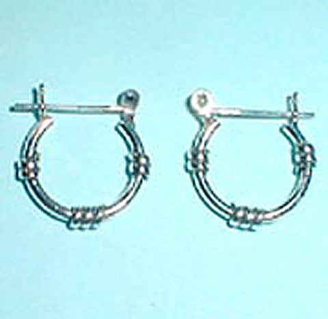 "5/8"" Sterling Silver Bali Hoop with Triple Bands"