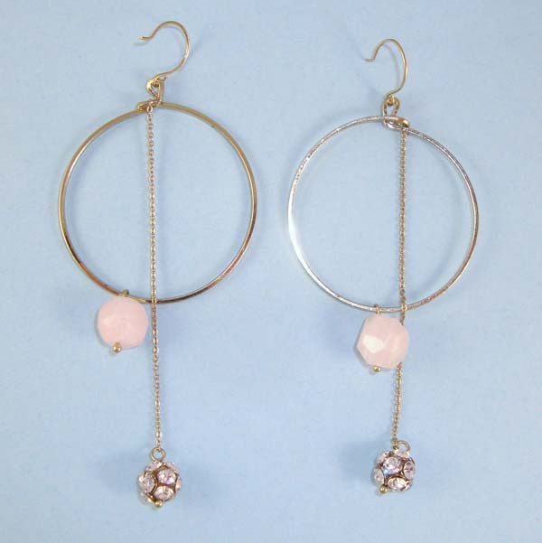 Gold Hoop Earrings with Pink Bead, Long CZ Dangle. On Wires BRIDAL WEDDING