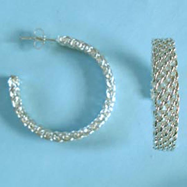 Large Designer Inspired Mesh Hoops, Sterling Silver