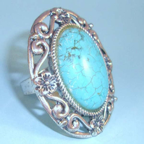Large Turquoise Ring with Silver Filigree Setting; Adjustable