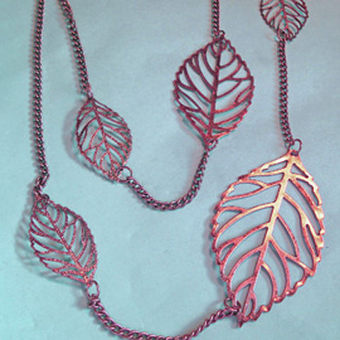 "Long Leaf Necklace, 45"", In Copper or Silver"